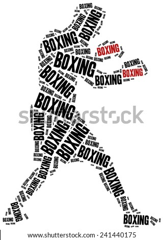 Boxer or boxing fighter. Martial arts concept. Word cloud illustration. - stock photo