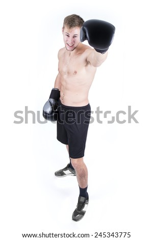 boxer over white background