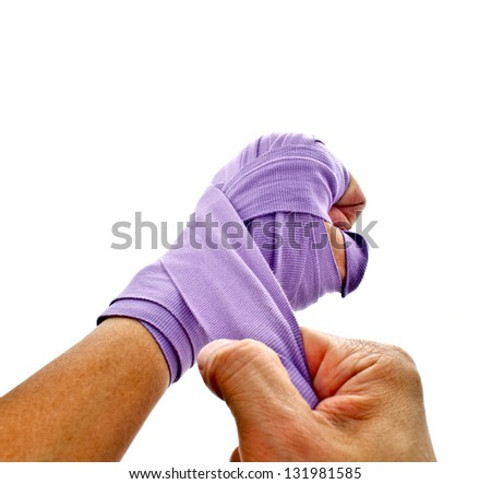 boxer's hand wrapping isolated on white background