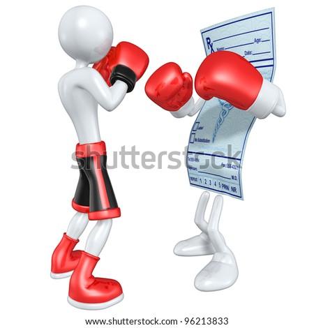 Boxer Versus Medical Prescription - stock photo