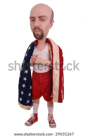Boxer wrapped in the american flag over white - stock photo