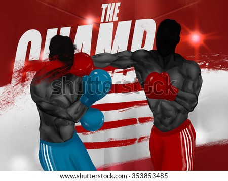 Boxers fighting illustration. Illustration of a black and white muscular boxers fighting with gloves on a grunge striped background. - stock photo