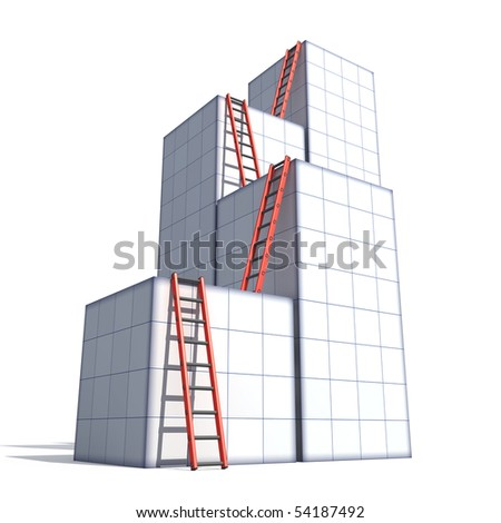 Boxes and ladders - stock photo
