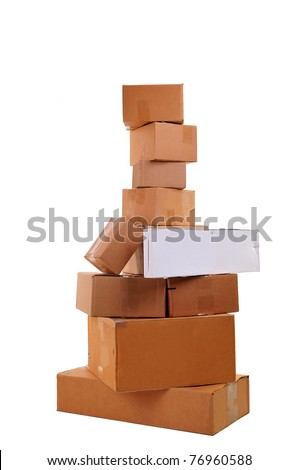 Boxes carelessly stacked on top of each other over white background- no shadows. - stock photo