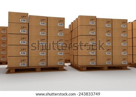 Boxes for cargo on pallets 3D - stock photo