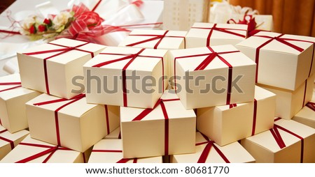Boxes for guest attending the wedding. - stock photo