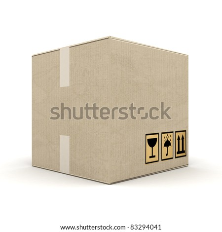 boxes of cardboard image on white background - stock photo
