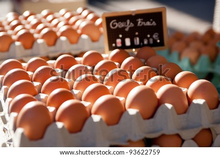 Boxes of farm eggs on a French market stall