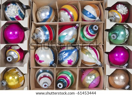 Boxes of vintage Christmas ornaments from the 1960's. - stock photo