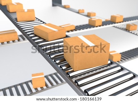 Boxes on Conveyor Belt II - stock photo