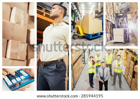 Boxes on trolley in warehouse against forklift machine in warehouse - stock photo