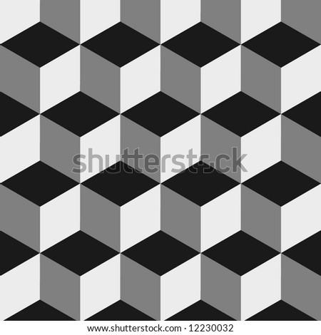 boxes optical illusion - stock photo