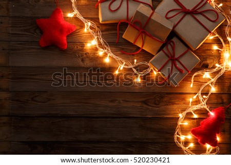 Boxes , presents on brown background