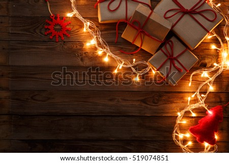 Boxes, presents on wooden background