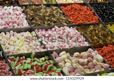 boxes with different kind of candy - stock photo