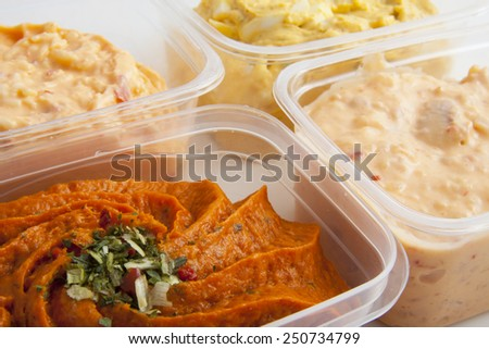Boxes with different kind of fresh salads - stock photo