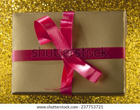 boxes with gifts on a yellow background - stock photo