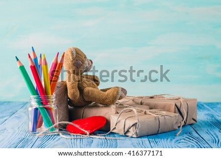 Boxes with gifts surprise, wishes, birthday or holiday a teddy bear - stock photo