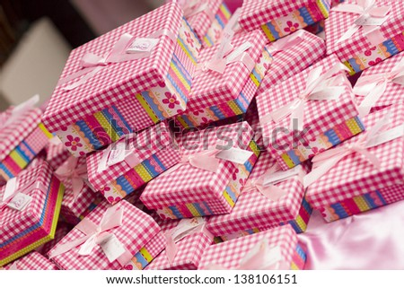 Boxes with presents, christmas, pink. party. - stock photo