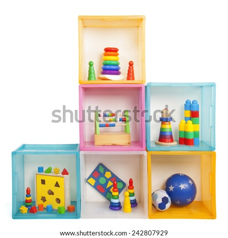 boxes with toys on the white - stock photo