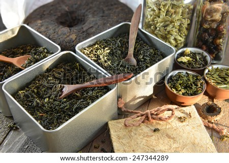 Boxes with various sorts of chinese dried tea, chinese tea shop, concept image  - stock photo