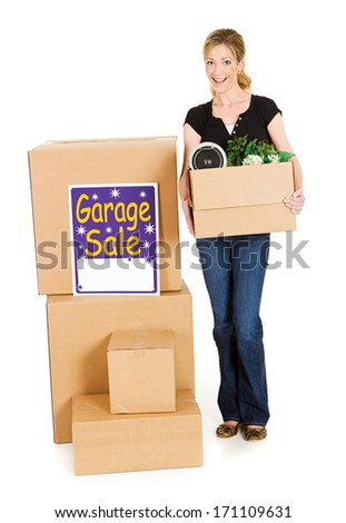 Boxes: Woman Ready For Garage Sale - stock photo
