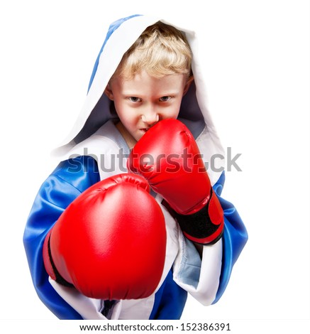 Boxing boy in red gloves on white background - stock photo