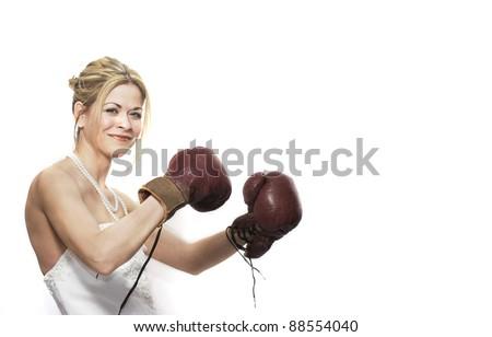 Boxing Bride - stock photo