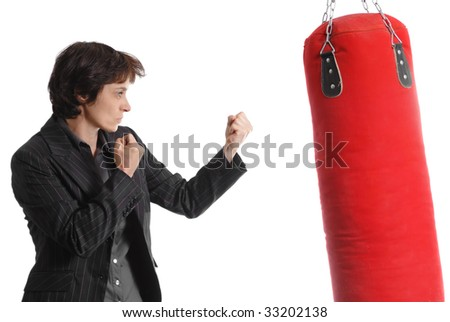 Boxing business woman against white background - stock photo
