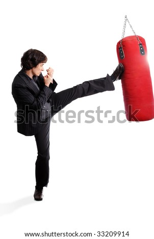 boxing business woman on white background - stock photo