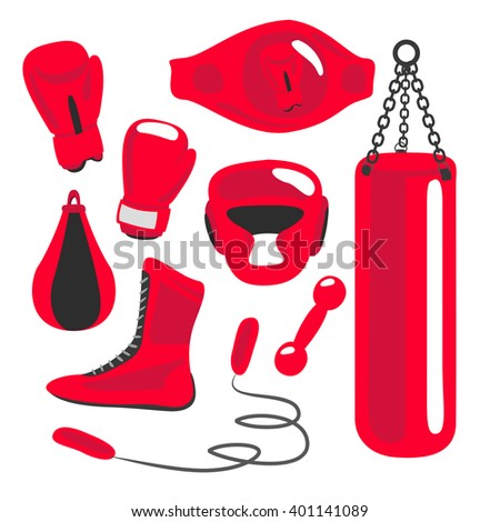 Boxing design elements. Fighting and boxing equipment. Boxing gloves vector illustration. Boxing gym icons. punching bag - stock photo