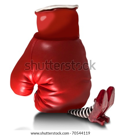 Boxing glove fallen on wicket witch - stock photo