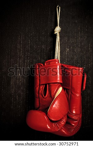 boxing-glove hanging - stock photo