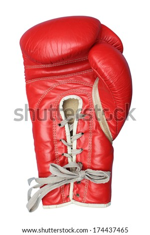 Boxing glove isolated on white - stock photo
