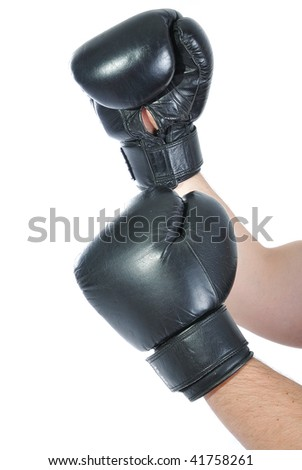 Boxing glove on hands - stock photo