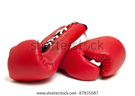 Boxing gloves against a white background