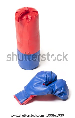 boxing gloves and a punching bag