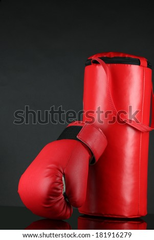 Boxing gloves and punching bag, isolated on black