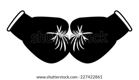Boxing gloves black on white - Illustration - stock photo