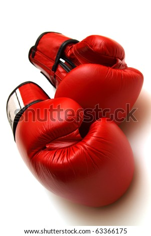 Boxing gloves close up on a white background - stock photo