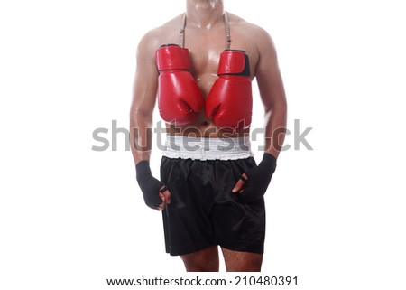 boxing gloves hang on neck of boxer retirement concept on white background with clipping path  - stock photo
