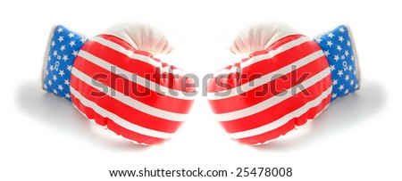 boxing gloves isolated on white with american flag stars and stripes - stock photo