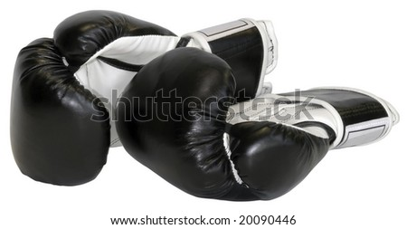 Boxing gloves isolated with clipping path - stock photo