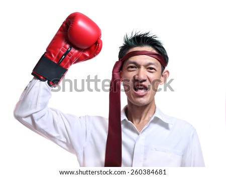 Boxing gloves man - concept showing aggressive female flexing muscles wearing boxing gloves isolated on white background.Handsome young businessman with boxing gloves. Studio white background