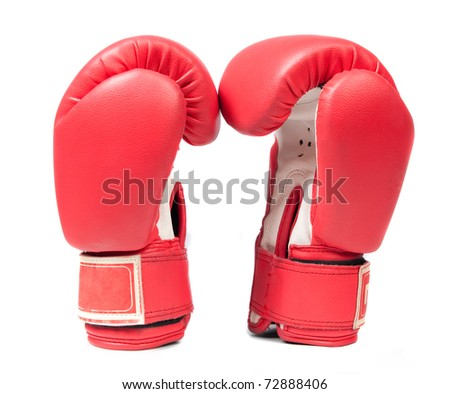 Boxing gloves on a white background close up - stock photo