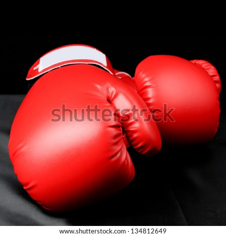 Boxing Gloves  on the table in studio - stock photo