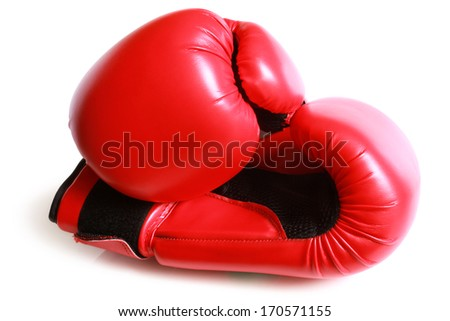 Boxing gloves on white background