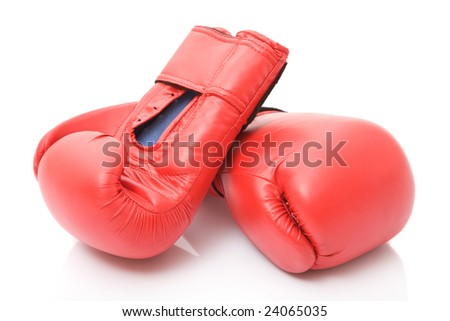 Boxing gloves on white background.