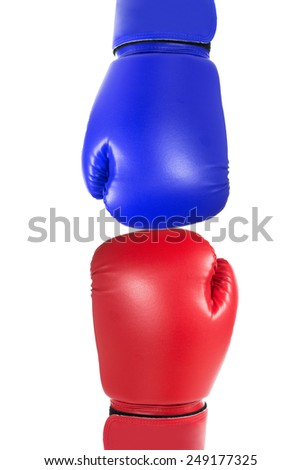 Boxing gloves  punch with white background - stock photo