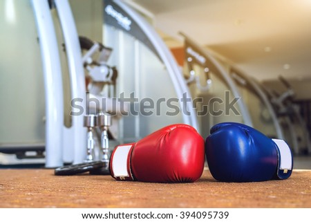 Boxing Gloves Red And Blue Gym Fitness - exercise The boxing Concept - stock photo